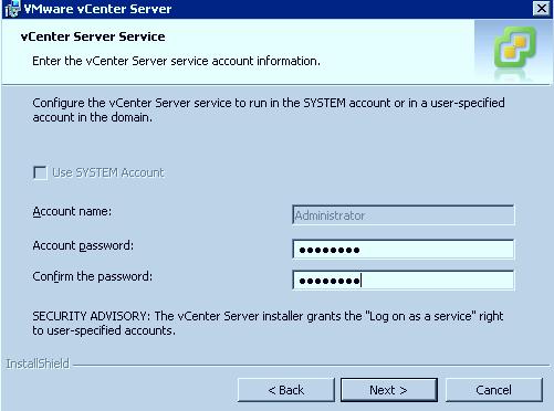vCenter Service Credentials