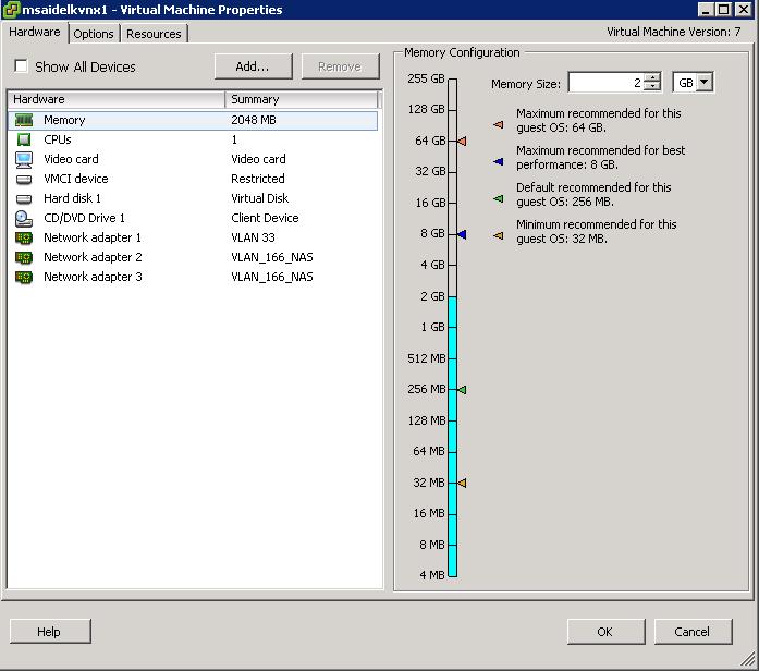VNX settings
