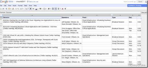 VMworld 2011 Spreadsheet