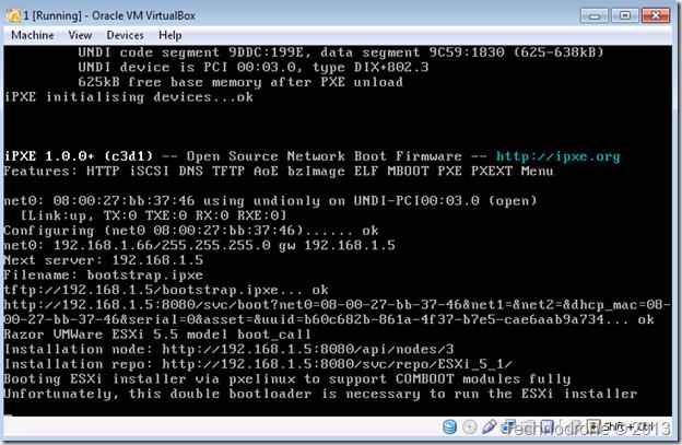 boot to ESXi installer