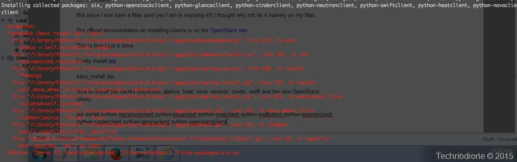Installing OpenStack CLI clients on Mac OSX | Technodrone